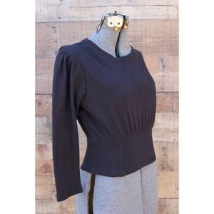 NEW Anthro Guest Editor Black Knit Top Back Laces